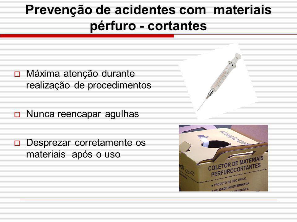 Prevenção de acidentes com materiais pérfuro - cortantes Máxima atenção durante realização de procedimentos Nunca reencapar agulhas Desprezar corretam