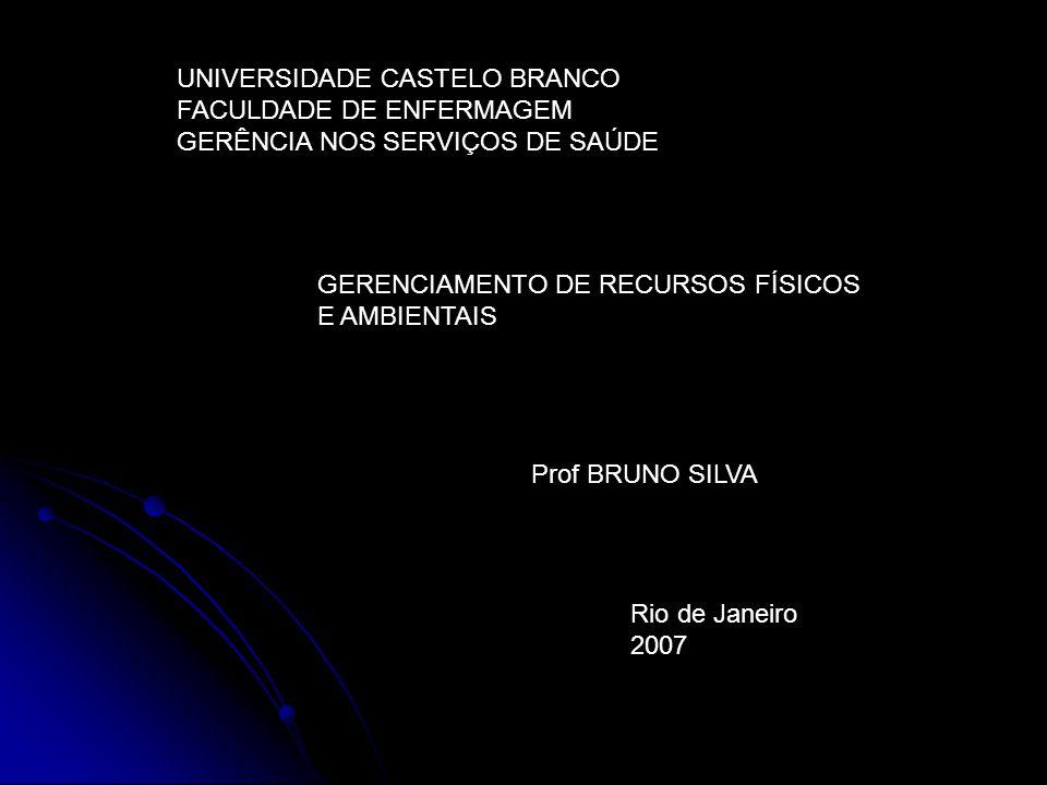 UNIVERSIDADE CASTELO BRANCO FACULDADE DE ENFERMAGEM GERÊNCIA NOS SERVIÇOS DE SAÚDE GERENCIAMENTO DE RECURSOS FÍSICOS E AMBIENTAIS Prof BRUNO SILVA Rio