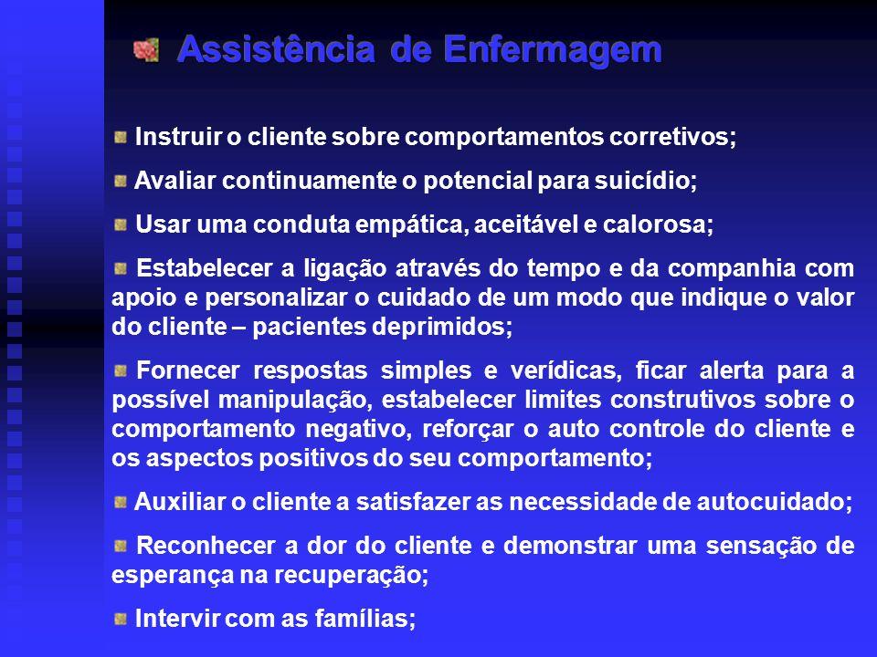 Instruir o cliente sobre comportamentos corretivos; Avaliar continuamente o potencial para suicídio; Usar uma conduta empática, aceitável e calorosa;
