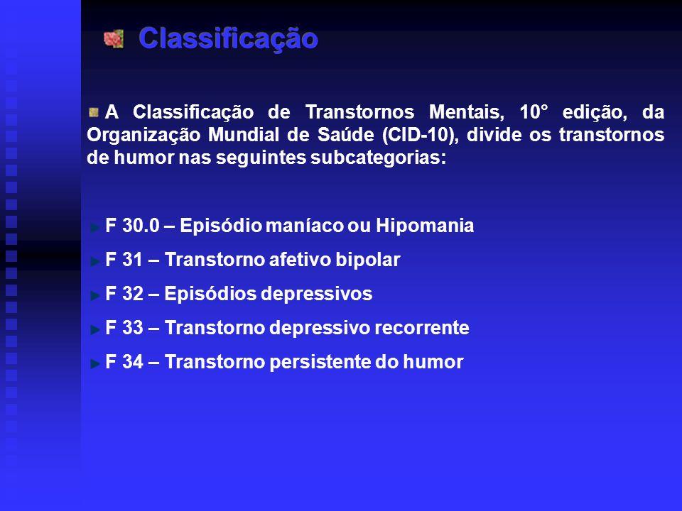 A Classificação de Transtornos Mentais, 10° edição, da Organização Mundial de Saúde (CID-10), divide os transtornos de humor nas seguintes subcategori