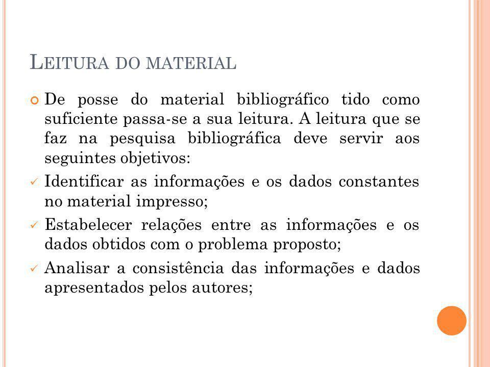 L EITURA DO MATERIAL De posse do material bibliográfico tido como suficiente passa-se a sua leitura. A leitura que se faz na pesquisa bibliográfica de