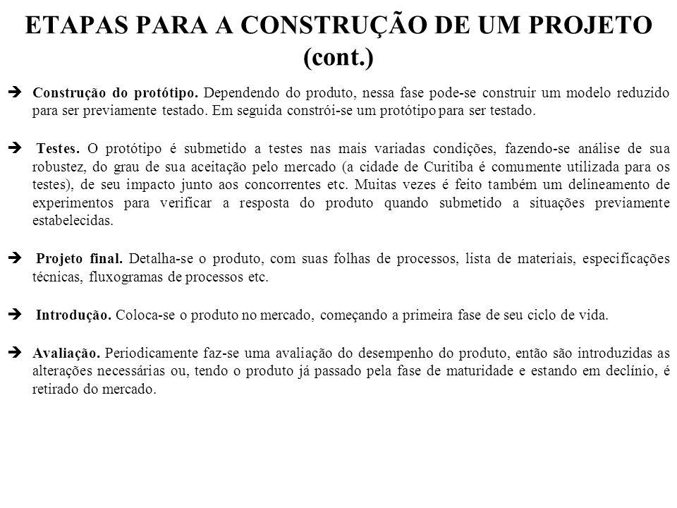ETAPAS PARA A CONSTRUÇÃO DE UM PROJETO (cont.) èConstrução do protótipo.