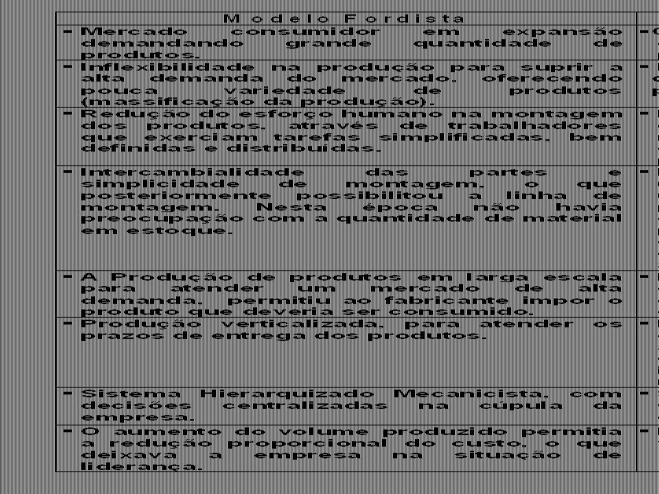 CARACTERÍSTICAS DAS OPERAÇÕES Alta repetição Especialização Sistematização Capital intensivo Custo unitário baixo Baixa repetição Funcionários mais participativos Menor sistematização Custo unitário alto Volume Baixo Alto Flexível Complexo Atende necessidades dos consumidores Custo unitário alto Bem definida Rotineira Padronizada Regular Custo unitário baixo Variedade Alta Baixa