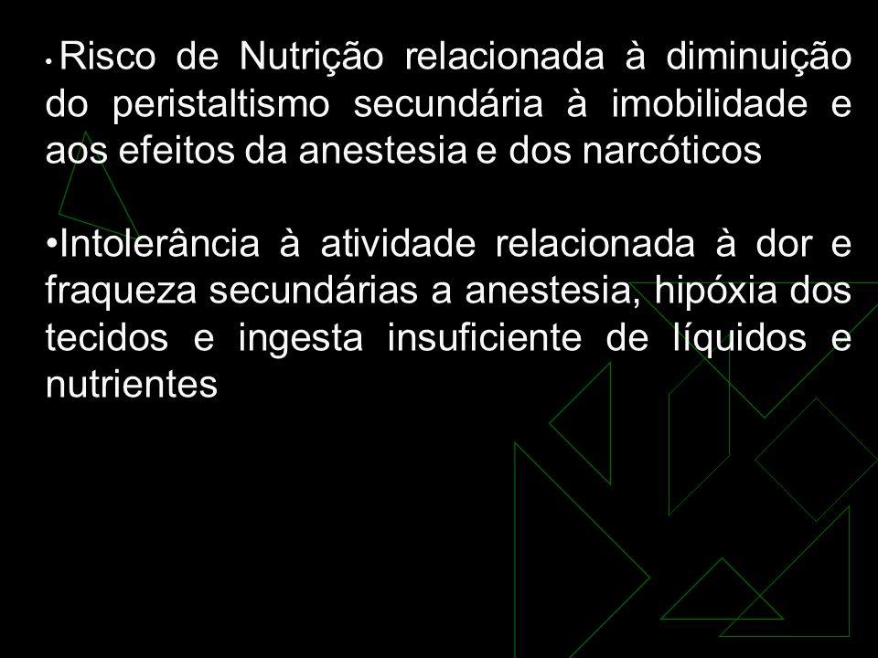 Risco de Nutrição relacionada à diminuição do peristaltismo secundária à imobilidade e aos efeitos da anestesia e dos narcóticos Intolerância à atividade relacionada à dor e fraqueza secundárias a anestesia, hipóxia dos tecidos e ingesta insuficiente de líquidos e nutrientes