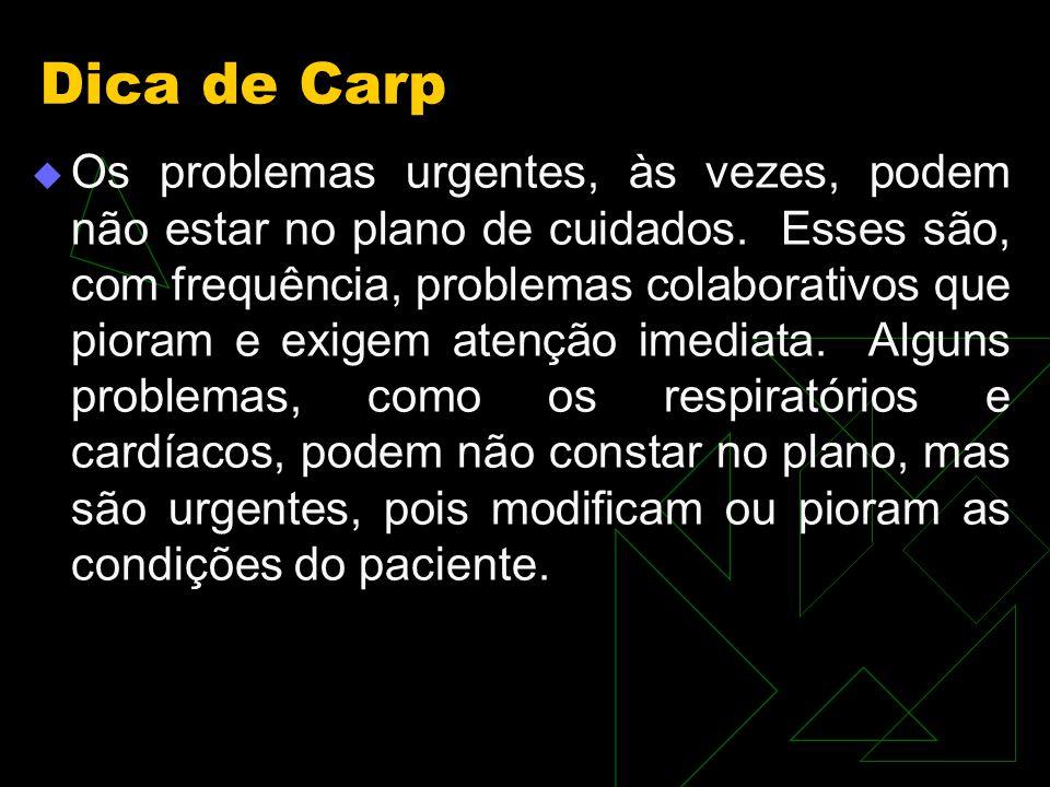 Dica de Carp Os problemas urgentes, às vezes, podem não estar no plano de cuidados.