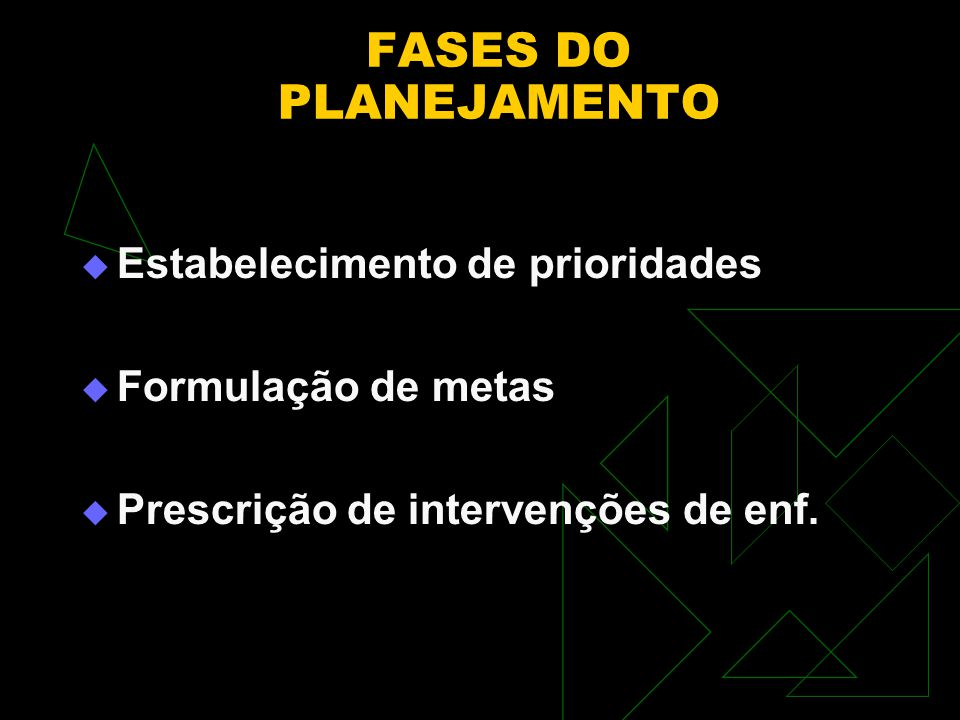 FASES DO PLANEJAMENTO Estabelecimento de prioridades Formulação de metas Prescrição de intervenções de enf.