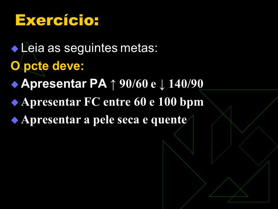 Exercício: Leia as seguintes metas: O pcte deve: Apresentar PA 90/60 e 140/90 Apresentar FC entre 60 e 100 bpm Apresentar a pele seca e quente
