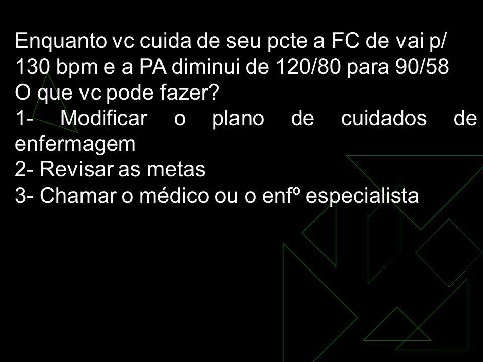 Enquanto vc cuida de seu pcte a FC de vai p/ 130 bpm e a PA diminui de 120/80 para 90/58 O que vc pode fazer.