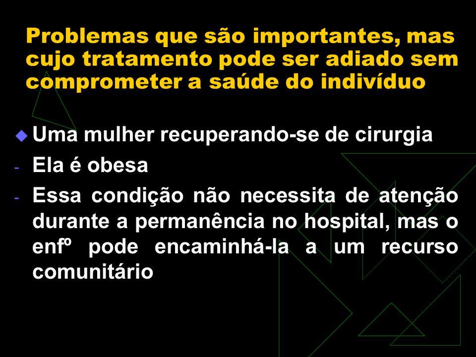 Problemas que são importantes, mas cujo tratamento pode ser adiado sem comprometer a saúde do indivíduo Uma mulher recuperando-se de cirurgia - Ela é obesa - Essa condição não necessita de atenção durante a permanência no hospital, mas o enfº pode encaminhá-la a um recurso comunitário