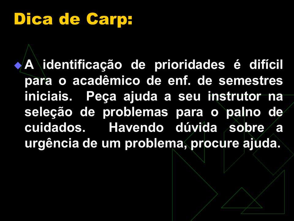 Dica de Carp: A identificação de prioridades é difícil para o acadêmico de enf.