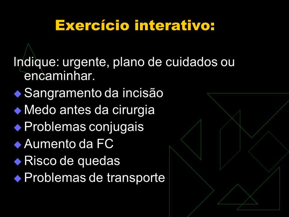 Exercício interativo: Indique: urgente, plano de cuidados ou encaminhar.
