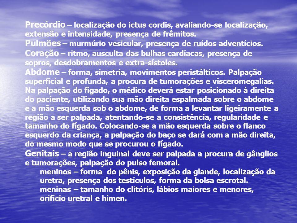 Precórdio – localização do ictus cordis, avaliando-se localização, extensão e intensidade, presença de frêmitos. Pulmões – murmúrio vesicular, presenç