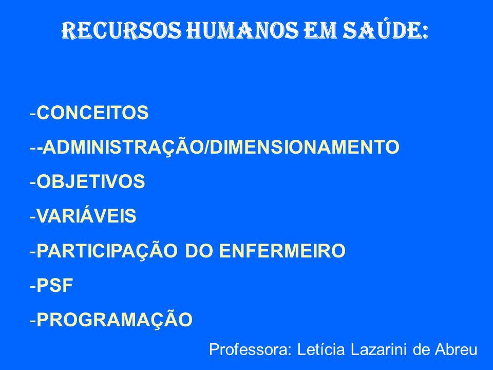RECURSOS HUMANOS EM SAÚDE: -CONCEITOS --ADMINISTRAÇÃO/DIMENSIONAMENTO -OBJETIVOS -VARIÁVEIS -PARTICIPAÇÃO DO ENFERMEIRO -PSF -PROGRAMAÇÃO Professora: