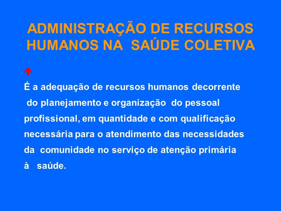ADMINISTRAÇÃO DE RECURSOS HUMANOS NA SAÚDE COLETIVA É a adequação de recursos humanos decorrente do planejamento e organização do pessoal profissional