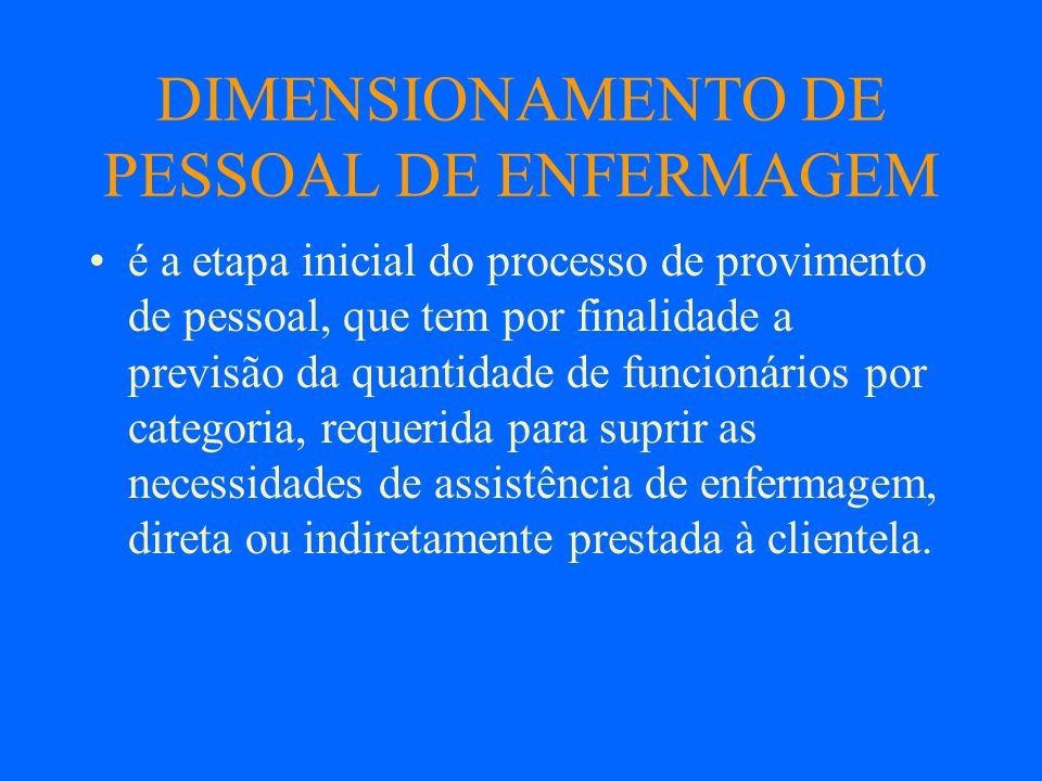 DIMENSIONAMENTO DE PESSOAL DE ENFERMAGEM é a etapa inicial do processo de provimento de pessoal, que tem por finalidade a previsão da quantidade de fu