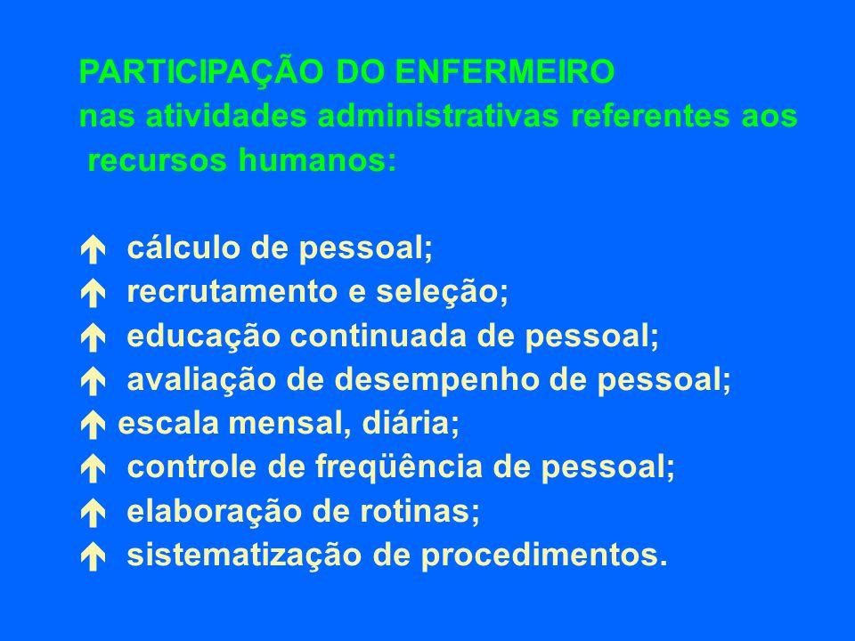PARTICIPAÇÃO DO ENFERMEIRO nas atividades administrativas referentes aos recursos humanos: cálculo de pessoal; recrutamento e seleção; educação contin