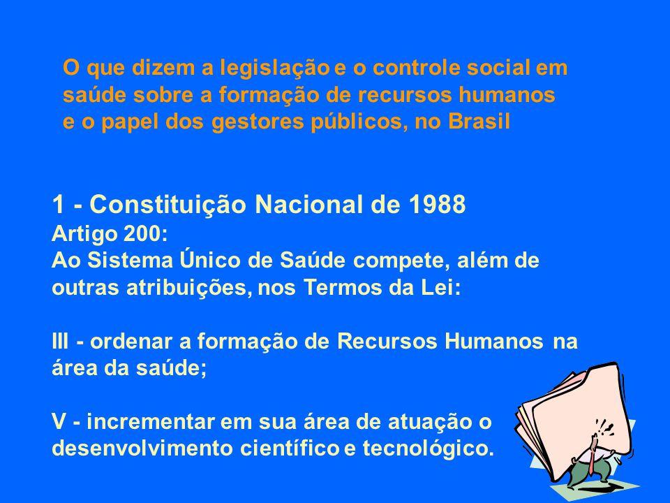2 - Lei Orgânica da Saúde de 1990 Artigo 6 o : Estão incluídas no campo de atuação do SUS: III - a ordenação da formação de recursos humanos na área da saúde; X - o incremento, em sua área de atuação, do desenvolvimento científico e tecnológico.