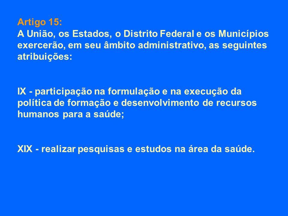 Artigo 15: A União, os Estados, o Distrito Federal e os Municípios exercerão, em seu âmbito administrativo, as seguintes atribuições: IX - participaçã