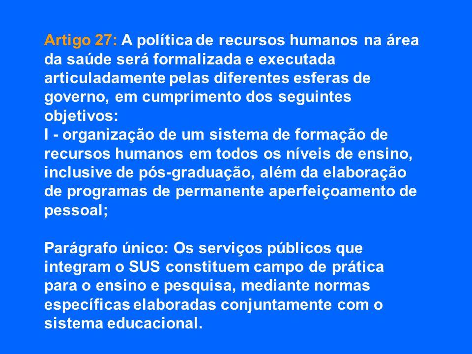 Artigo 27: A política de recursos humanos na área da saúde será formalizada e executada articuladamente pelas diferentes esferas de governo, em cumpri