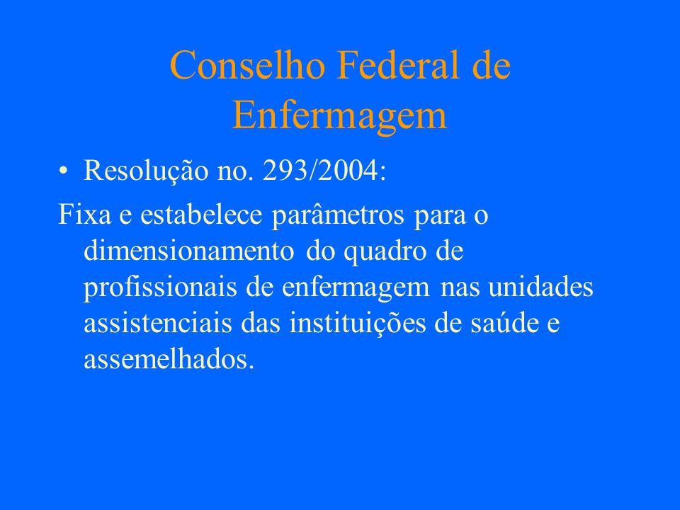 Conselho Federal de Enfermagem Resolução no. 293/2004: Fixa e estabelece parâmetros para o dimensionamento do quadro de profissionais de enfermagem na