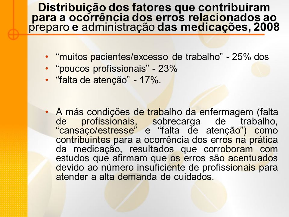 Distribuição dos fatores que contribuíram para a ocorrência dos erros relacionados ao preparo e administração das medicações, 2008 muitos pacientes/excesso de trabalho - 25% dos poucos profissionais - 23% falta de atenção - 17%.