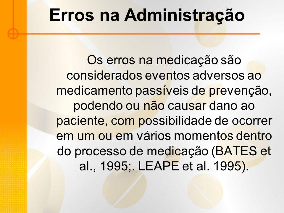 Erros na Administração Os erros na medicação são considerados eventos adversos ao medicamento passíveis de prevenção, podendo ou não causar dano ao paciente, com possibilidade de ocorrer em um ou em vários momentos dentro do processo de medicação (BATES et al., 1995;.