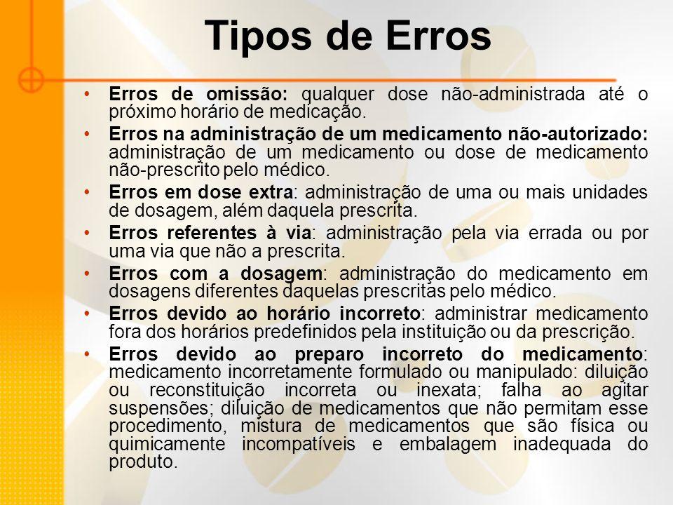 Tipos de Erros Erros de omissão: qualquer dose não-administrada até o próximo horário de medicação.
