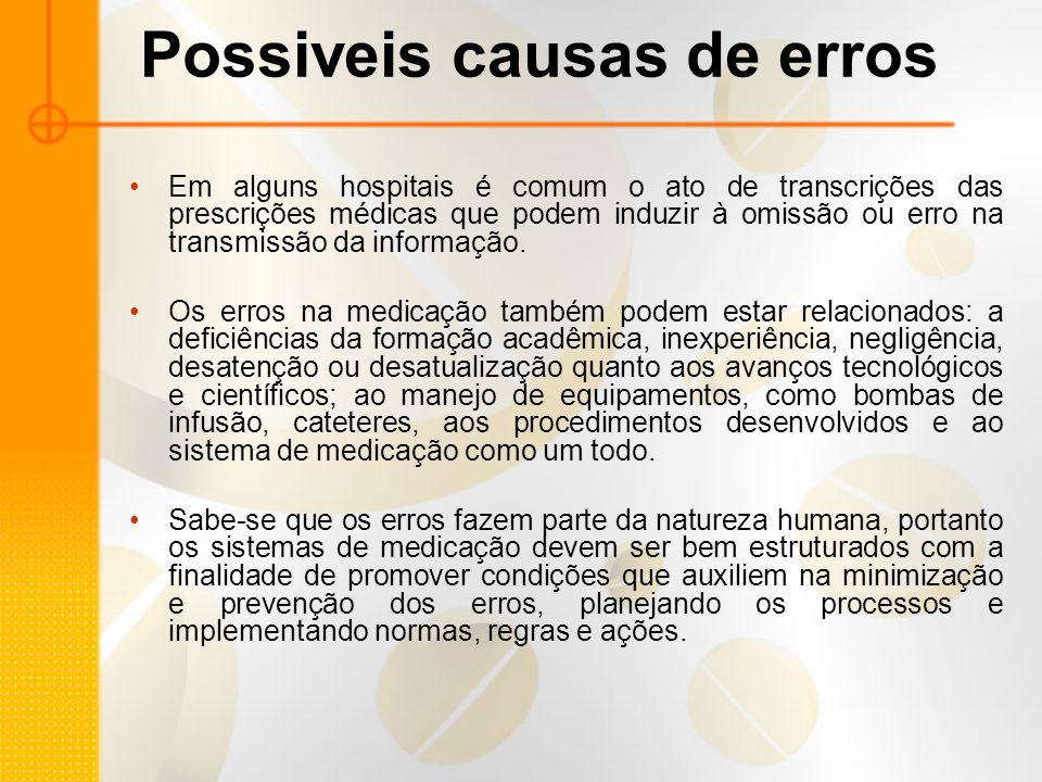 Possiveis causas de erros Em alguns hospitais é comum o ato de transcrições das prescrições médicas que podem induzir à omissão ou erro na transmissão da informação.