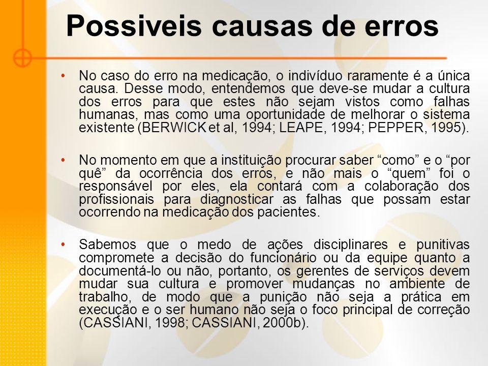 Possiveis causas de erros No caso do erro na medicação, o indivíduo raramente é a única causa.