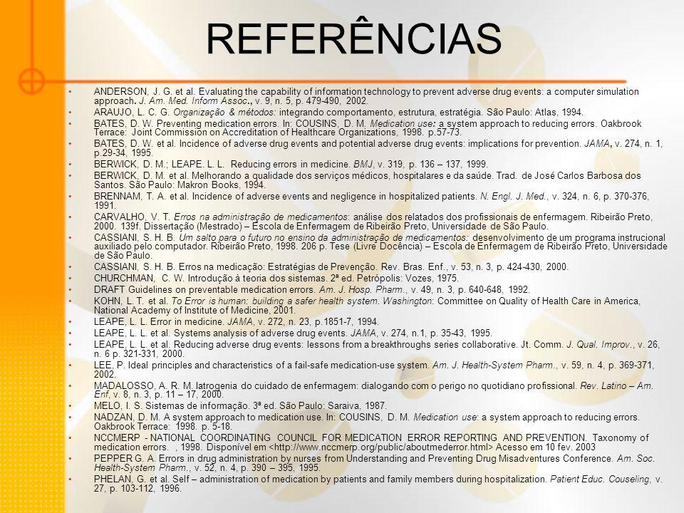 REFERÊNCIAS ANDERSON, J.G. et al.