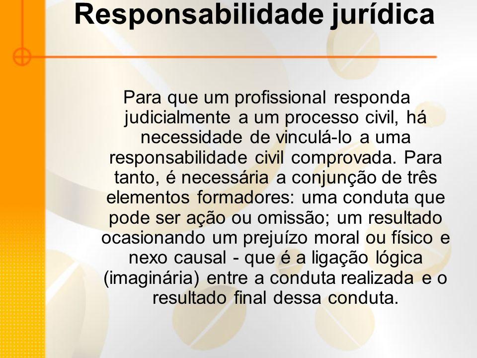 Responsabilidade jurídica Para que um profissional responda judicialmente a um processo civil, há necessidade de vinculá-lo a uma responsabilidade civil comprovada.