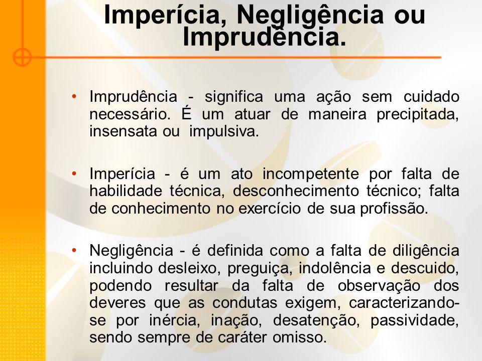 Imperícia, Negligência ou Imprudência.Imprudência - significa uma ação sem cuidado necessário.