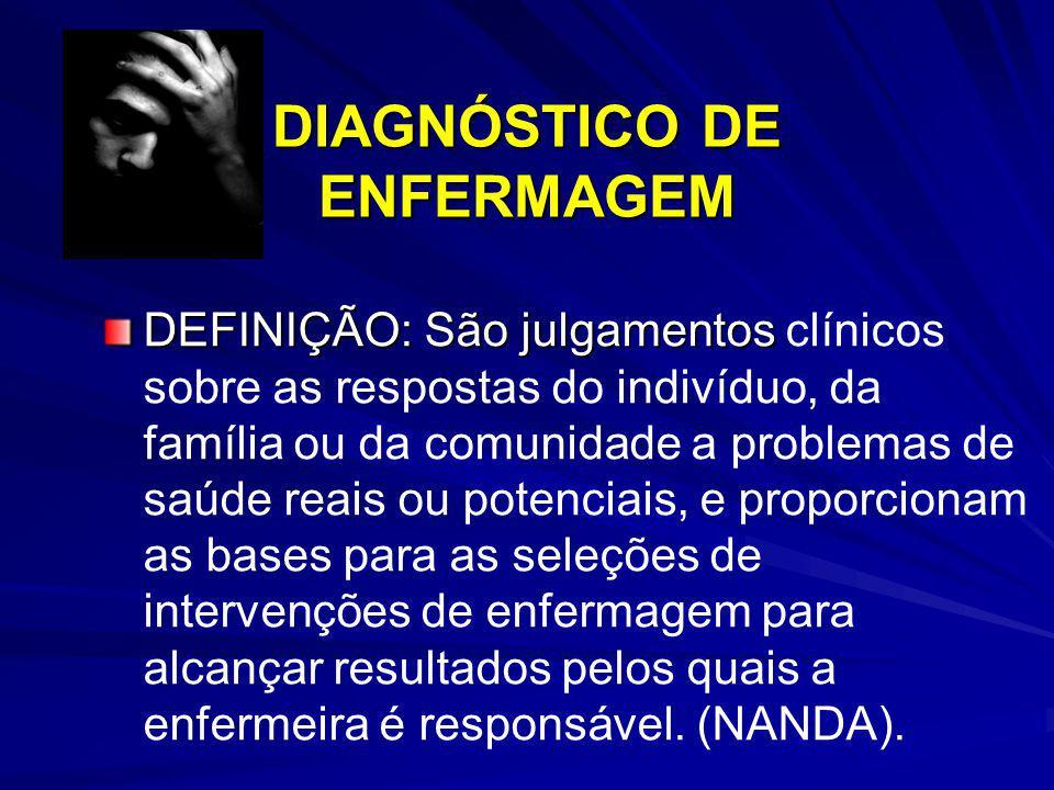 DIAGNÓSTICO DE ENFERMAGEM DEFINIÇÃO: São julgamentos DEFINIÇÃO: São julgamentos clínicos sobre as respostas do indivíduo, da família ou da comunidade