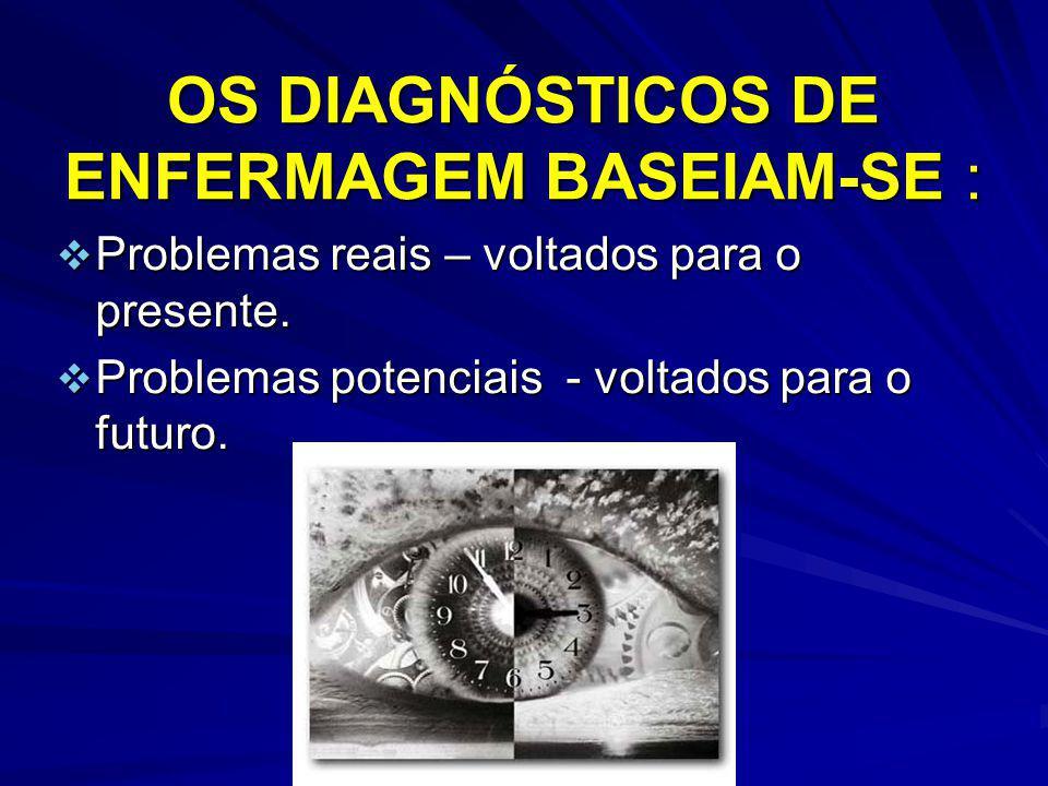 OS DIAGNÓSTICOS DE ENFERMAGEM BASEIAM-SE : Problemas reais – voltados para o presente. Problemas reais – voltados para o presente. Problemas potenciai