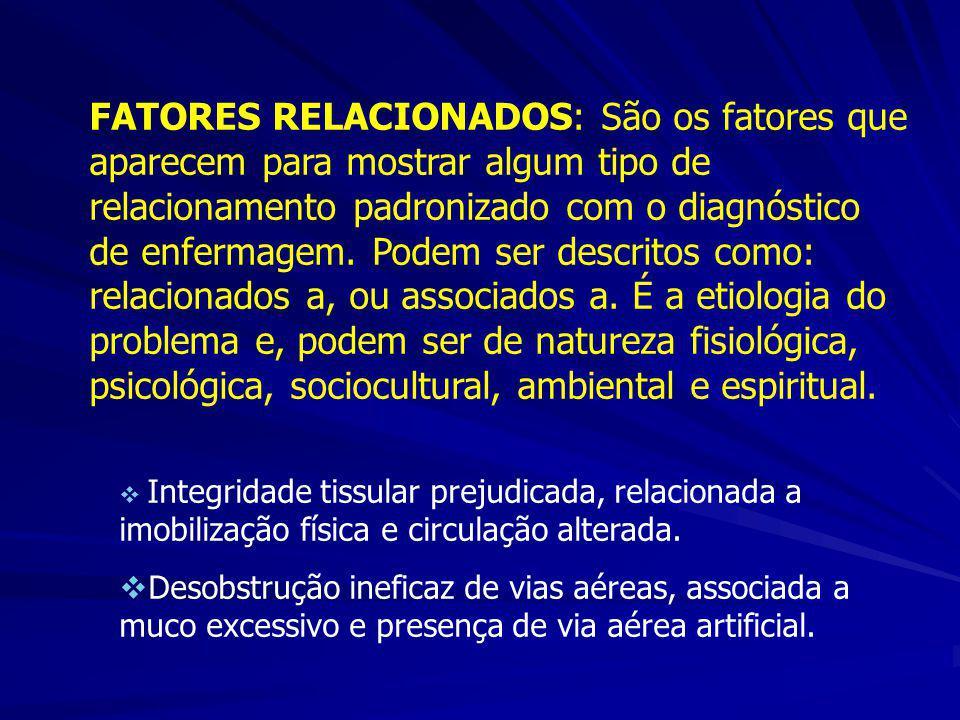 FATORES RELACIONADOS: São os fatores que aparecem para mostrar algum tipo de relacionamento padronizado com o diagnóstico de enfermagem. Podem ser des
