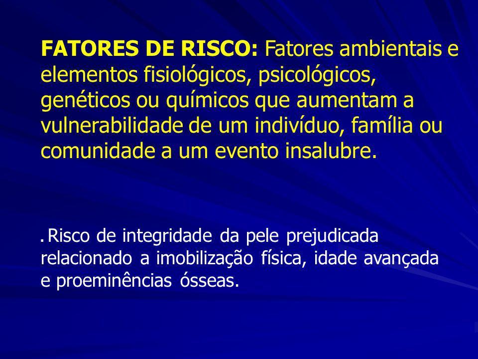 FATORES DE RISCO: Fatores ambientais e elementos fisiológicos, psicológicos, genéticos ou químicos que aumentam a vulnerabilidade de um indivíduo, fam