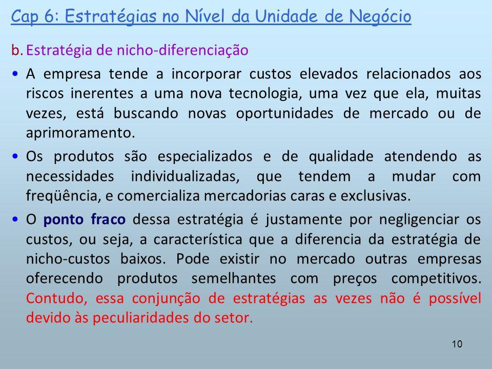 10 Cap 6: Estratégias no Nível da Unidade de Negócio b.Estratégia de nicho-diferenciação A empresa tende a incorporar custos elevados relacionados aos