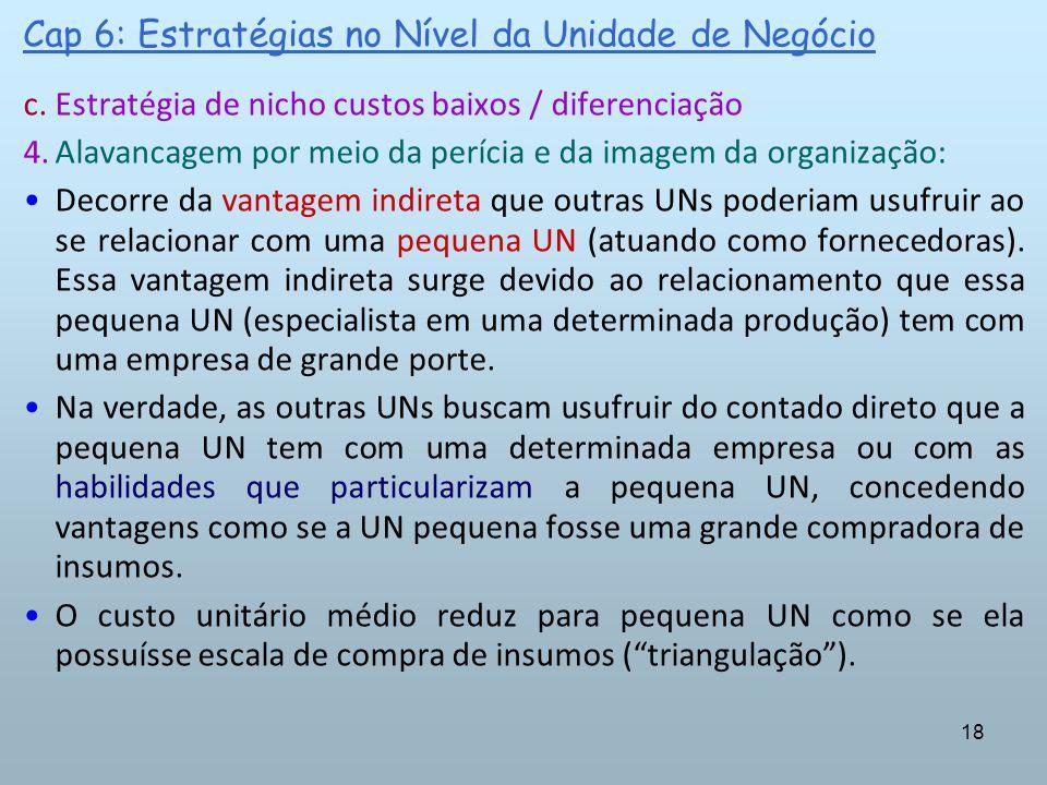 18 Cap 6: Estratégias no Nível da Unidade de Negócio c.Estratégia de nicho custos baixos / diferenciação 4.Alavancagem por meio da perícia e da imagem