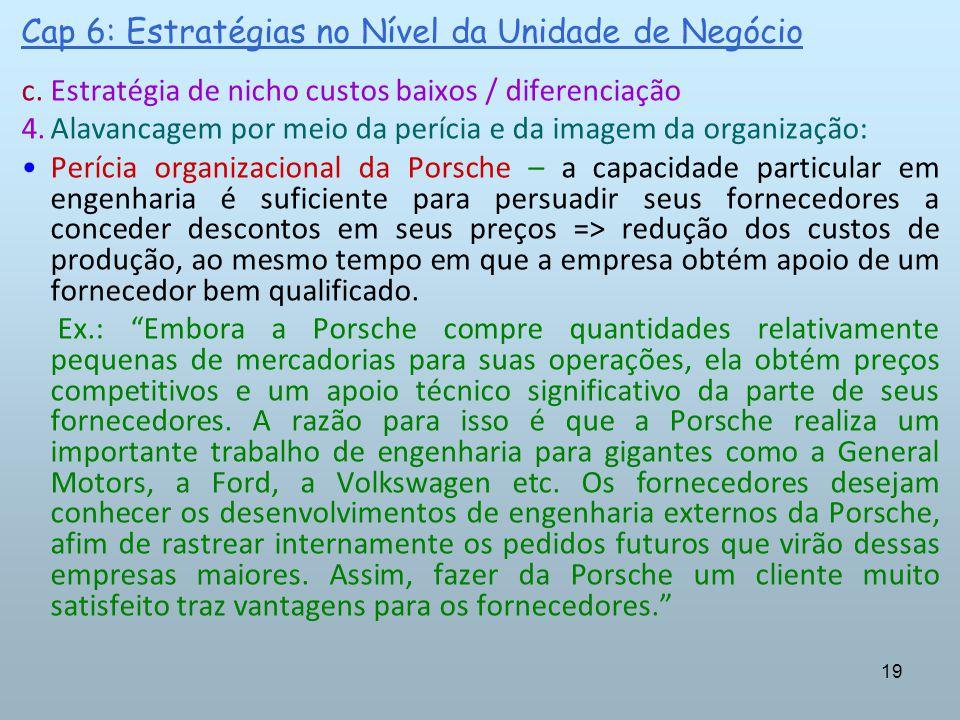 19 Cap 6: Estratégias no Nível da Unidade de Negócio c.Estratégia de nicho custos baixos / diferenciação 4.Alavancagem por meio da perícia e da imagem