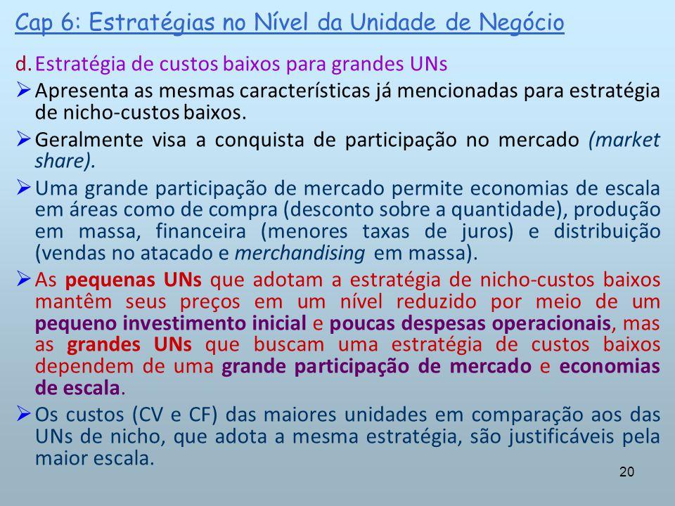20 Cap 6: Estratégias no Nível da Unidade de Negócio d.Estratégia de custos baixos para grandes UNs Apresenta as mesmas características já mencionadas
