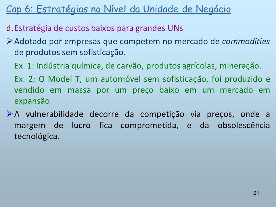 21 Cap 6: Estratégias no Nível da Unidade de Negócio d.Estratégia de custos baixos para grandes UNs Adotado por empresas que competem no mercado de co
