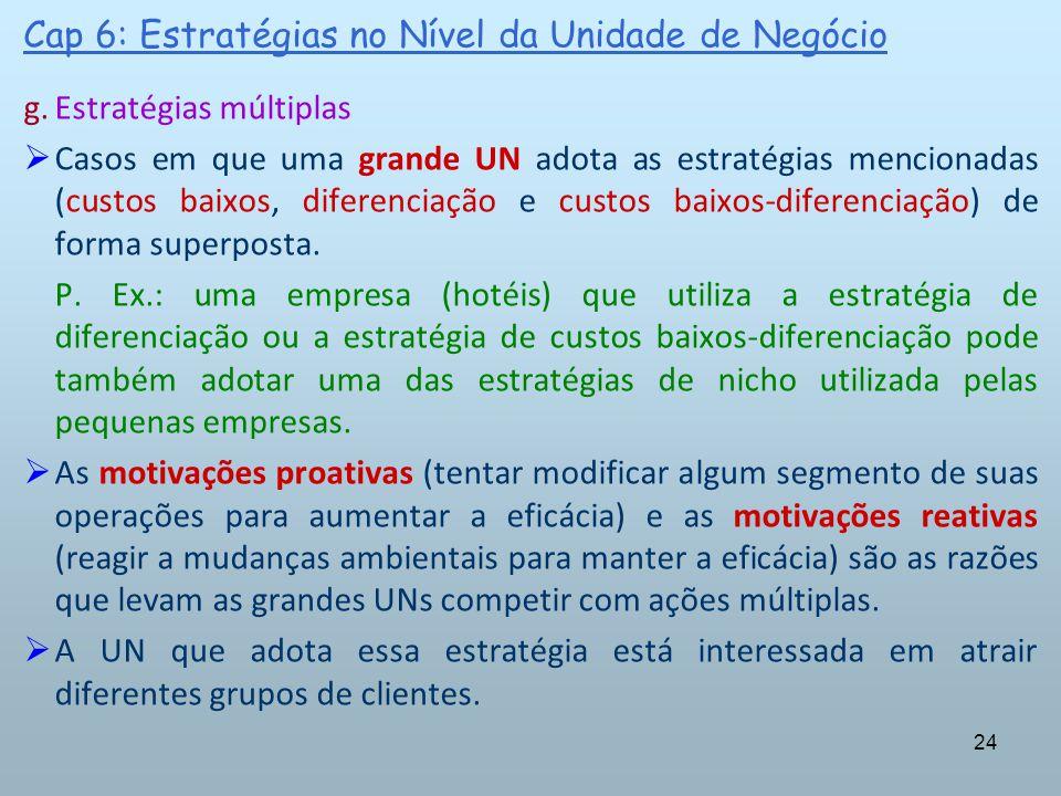 24 Cap 6: Estratégias no Nível da Unidade de Negócio g.Estratégias múltiplas Casos em que uma grande UN adota as estratégias mencionadas (custos baixo
