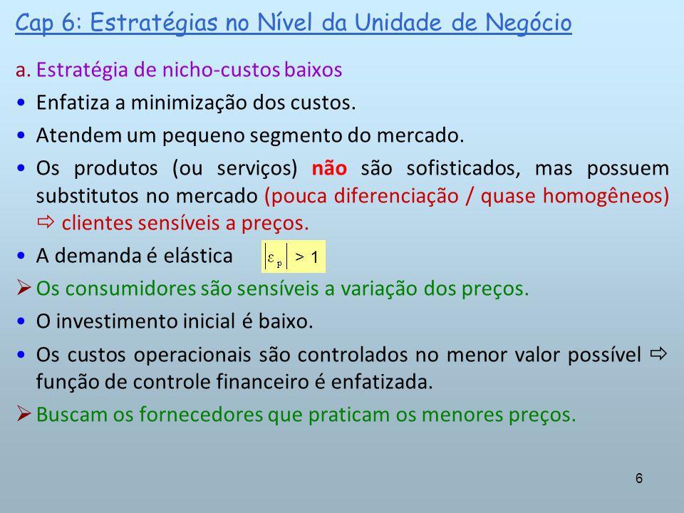 6 Cap 6: Estratégias no Nível da Unidade de Negócio a.Estratégia de nicho-custos baixos Enfatiza a minimização dos custos. Atendem um pequeno segmento