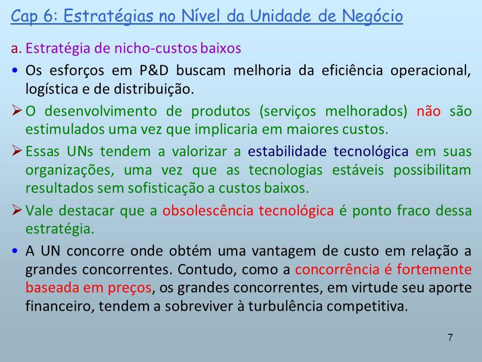 7 Cap 6: Estratégias no Nível da Unidade de Negócio a.Estratégia de nicho-custos baixos Os esforços em P&D buscam melhoria da eficiência operacional,