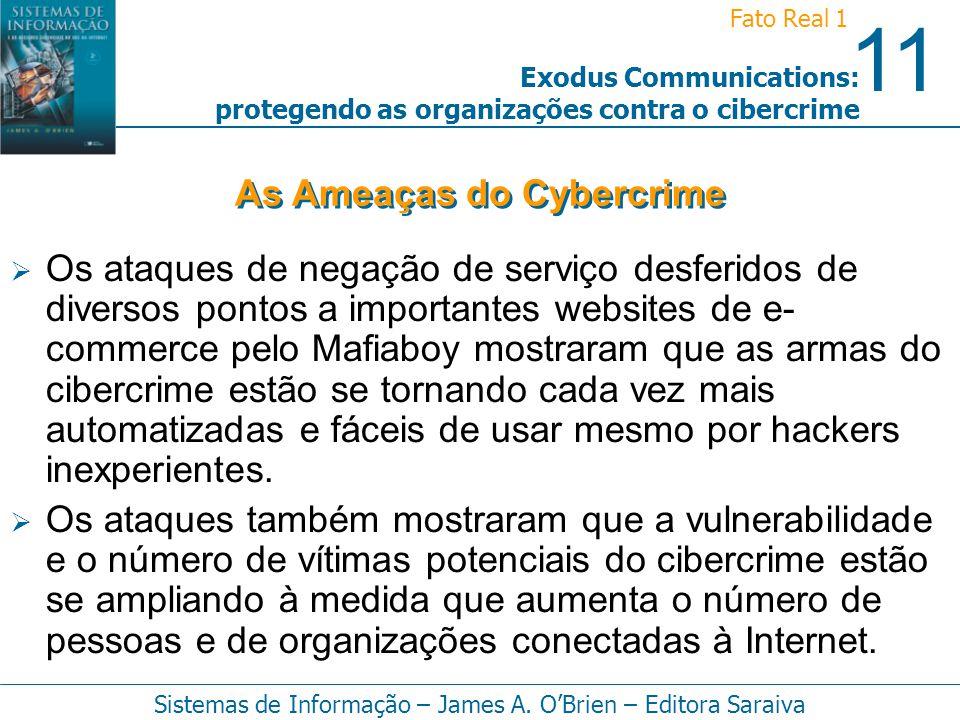 11 Fato Real 1 Sistemas de Informação – James A. OBrien – Editora Saraiva Exodus Communications: protegendo as organizações contra o cibercrime Os ata