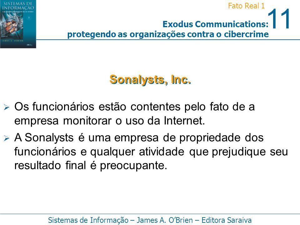11 Fato Real 1 Sistemas de Informação – James A. OBrien – Editora Saraiva Exodus Communications: protegendo as organizações contra o cibercrime Os fun