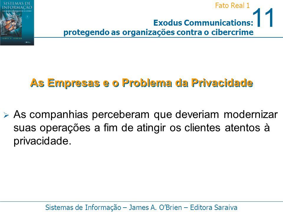 11 Fato Real 1 Sistemas de Informação – James A. OBrien – Editora Saraiva Exodus Communications: protegendo as organizações contra o cibercrime As com