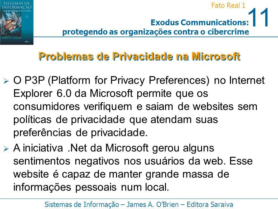 11 Fato Real 1 Sistemas de Informação – James A. OBrien – Editora Saraiva Exodus Communications: protegendo as organizações contra o cibercrime O P3P