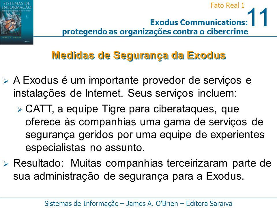 11 Fato Real 1 Sistemas de Informação – James A. OBrien – Editora Saraiva Exodus Communications: protegendo as organizações contra o cibercrime A Exod