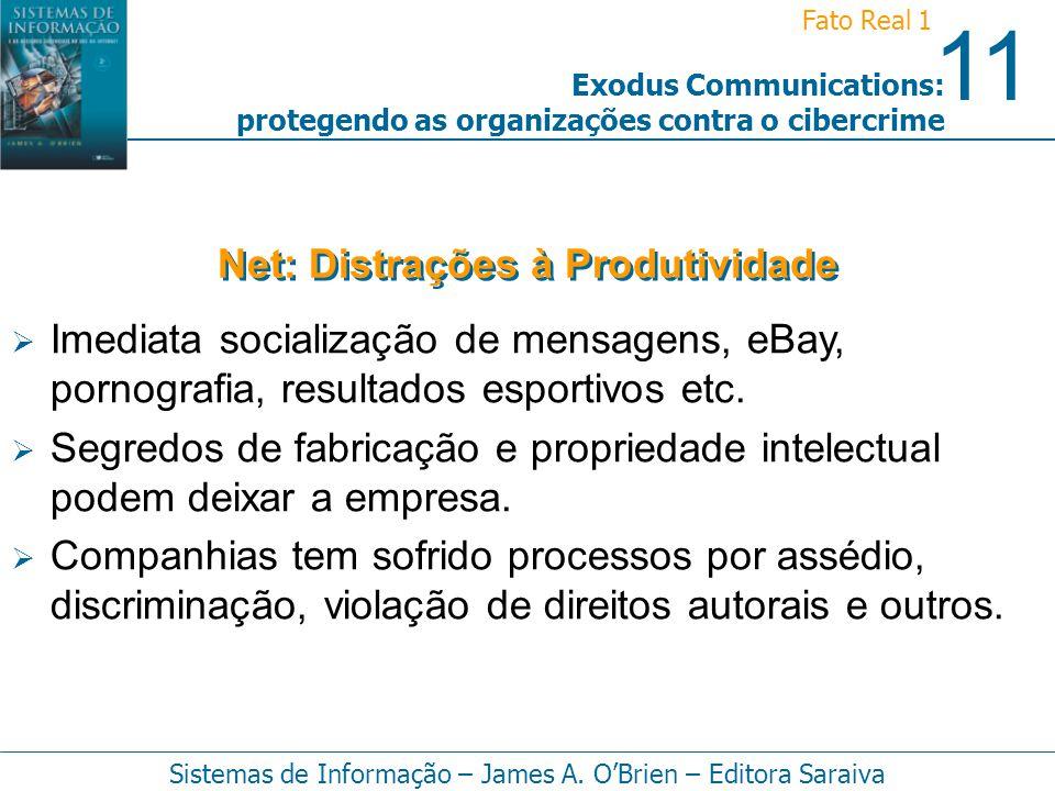 11 Fato Real 1 Sistemas de Informação – James A. OBrien – Editora Saraiva Exodus Communications: protegendo as organizações contra o cibercrime Imedia